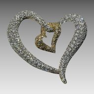 Vintage Swarovski Hearts' Entwined With Pave Clear Stones