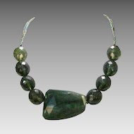 Artisan Crafted Genuine Labradorite Bead Necklace Enhanced With Peacock Seed Beads