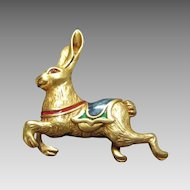 Vintage Museum of American Folk Art Hare with Enameled Saddle Pin