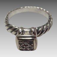 Sterling and 14 Karat David Yurman Diamond Ring