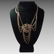 "Vintage Festoon with 1 3/4"" Center Pendant and Dripping Chain Accents"