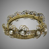 Vintage Miriam Haskel Russian-Gold Bangle with Faux Pearl Flower Center