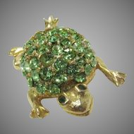 Vintage Weiss Frog in Peridot Colored Glass Stones with Goldtone Body