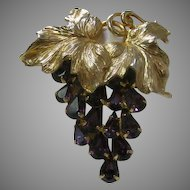 Vintage Napier Grapevine Pin in Purple and Goldtone