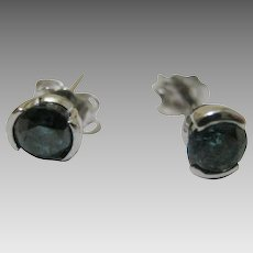 Exquisite Blue Diamond Studs in 14 Karat White Gold Setting