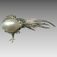 Vintage French Sterling MOP Bird With Marcasite