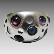 Sterling Silver Modernist Ring with Sapphire, Ruby, Emerald, Amethyst and Iolite Cabochons