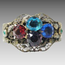 Vintage Multi Stone Bangle with Czech Findings