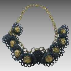 Vintage Charming Blue Bell Necklace from the 1930's
