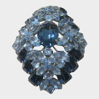 Vintage Massive Pin/Pendant with Two Tone Swarovski Crystals