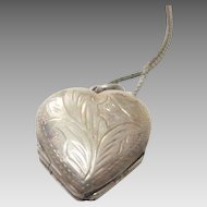 Sterling Four Hear Locket with Beautiful Engraving with Room for Four Pictures on Sterling Chain