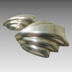 Sterling Silver Big Bold Shell Clip Earrings Signed Mexico 925