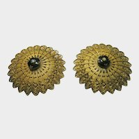 Vintage Matching 1930's Dress Clips in Goldtone and Black Glass Center Stone