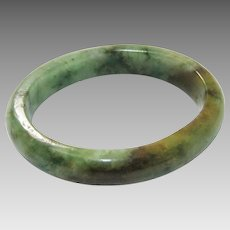 Jadite Carved Bangle in Rare Color Mottled Green and Red Beauty