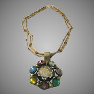 Vintage Multi Stone Mega Pendant on Three Strand Chain