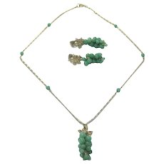 Vintage Green Glass Grape Necklace with Matching Earrings