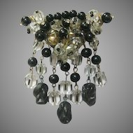 Vintage Deco Black/Clear Carved Crystal Drop Pin