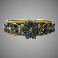 Vintage Goldtone Early Filagree Bangle with Multi-colored Crystals Across the Top