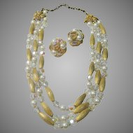 Vintage Kramer Mid 20th Century Necklace and Earring Set