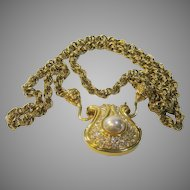 "Vintage Signed Nolan Miller 30"" Goldtone Chain Suspends a Pendant with Clear Pave Crystals"