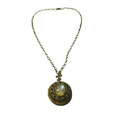 Vintage Florenza Locket on Chain with a Picture Depicting 18th Century Lady