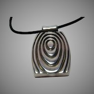 Sterling Robert Lee Morris Studio Modernist Pendant on Leather Cord