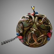 Vintage Robert Serpent Pendant with Art Glass Stones Accents