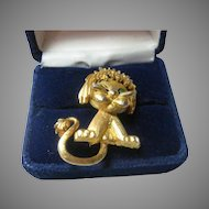 Vintage Sassy Lion Pin Signed Mandel