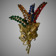 "Vintage 1930's 5"" Pin in Brass and Multi-Color Floral Bouquet"