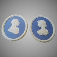 Wedgwood Jasper Ware Queen Elizabeth II and HRH Duke of Edinburgh Wall Plaques Commemorative of the Coronation 1953