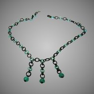 "Vintage Green and Black Onyx 22"" Necklace with Three Drops and Brass Fittings"