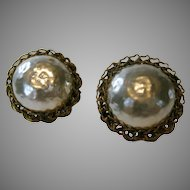 Vintage Miriam Haskell Faux Pearl Button Earrings