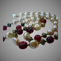 Vintage Carolee Signed Necklace Decorated With Round and Baroque Faux Pearls and Cranberry Glass Beads