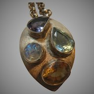 Sterling Pendant Enhanced with Aquamarine, Citrine, Moonstone and Amethyst on a Sterling Chain