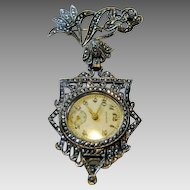 Sterling 1920's Marcasite Watch Pin