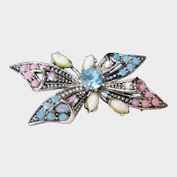 Hollycraft signed Butterfly Pin in Pastel Tones