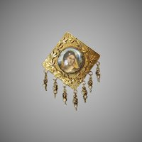 Vintage Renaissance Revival Style Goldtone Pin with Lucite covered Portrait of a Lady