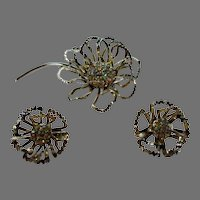 Sarah Coventry Pin and Earring Set With Aurora Borealis Centerpieces