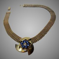 Forties Goldtone Mesh Necklace with Blue Crystal Slide