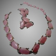 Vintage Kramer Signed Pink Thermoset Necklace and Matching Earrings
