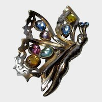 Vintage Butterfly Pin Enhanced with Pastel Crystal Stones