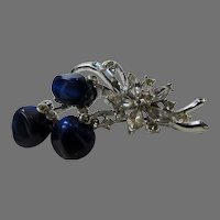 Vintage 1940's Pin With Poured Blue Glass Flowers