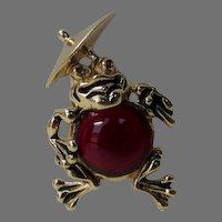 Vintage Jaunty Frog Pin With Red Jelly Belly Stomach