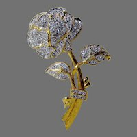 Vintage Nolan Miller Rose Pin With Crystal Pave Stones