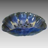 Fulper Center bowl with built in Flower Frog in Blue Crystalline Glaze