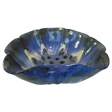Fulper Center bowl with built in Flower Frog in Blue Crystalline Glaze