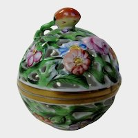 Herend Hand Painted Trinket Box Floral Themed