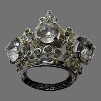 Sterling Corocraft Crown Pin With Clear Cut Crystals