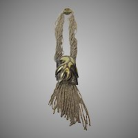Vintage Louisa Conti Statement Necklace With Champagne Seed Beads and Multi Tone Pendant