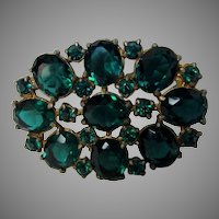 Vintag 1930's Pin with Unbacked Faux Emerald Crystals